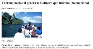 Turismo Nacional genera mas ingresos